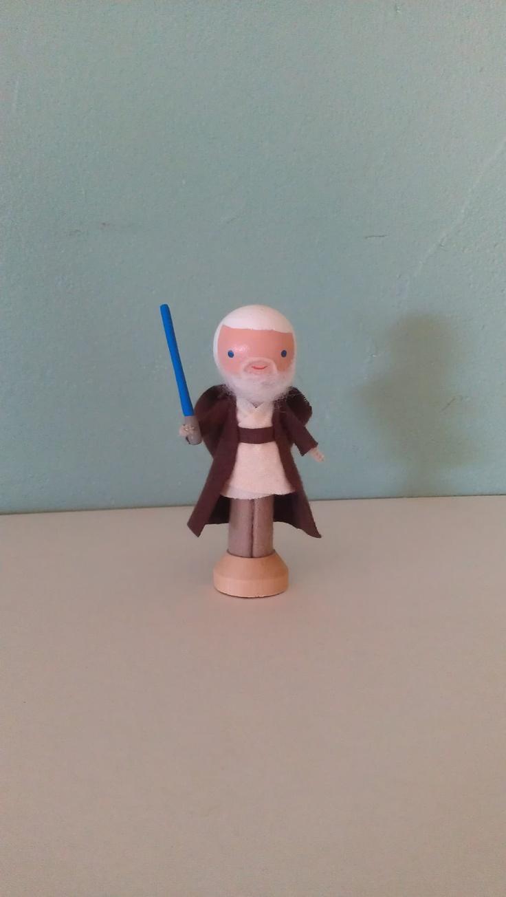 Obi Wan Kenobi Clothespin Doll - MADE TO ORDER. $25.00, via Etsy.