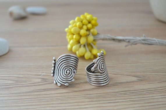 Bohemian Silver Spiral Statement Ring Silver Stackable