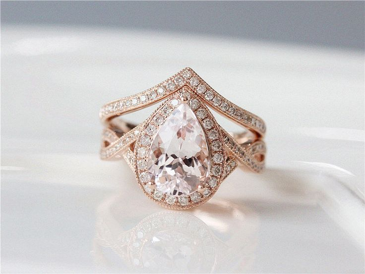 UNIQUE Wedding Ring Set 7x10mm Pear Cut Morganite Engagement Ring & Diamond Wedding Band Solid 14K Rose Gold Morganite Ring Set Bridal Ring by ByLaris on Etsy https://www.etsy.com/listing/502095704/unique-wedding-ring-set-7x10mm-pear-cut