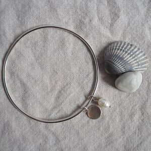 Silver 2mm bangle with two charms