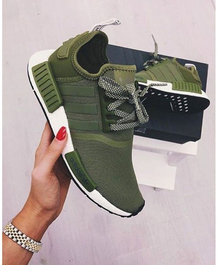 77e293302 Cheap Adidas NMD Trainers In Olive Khaki Sale Clearance
