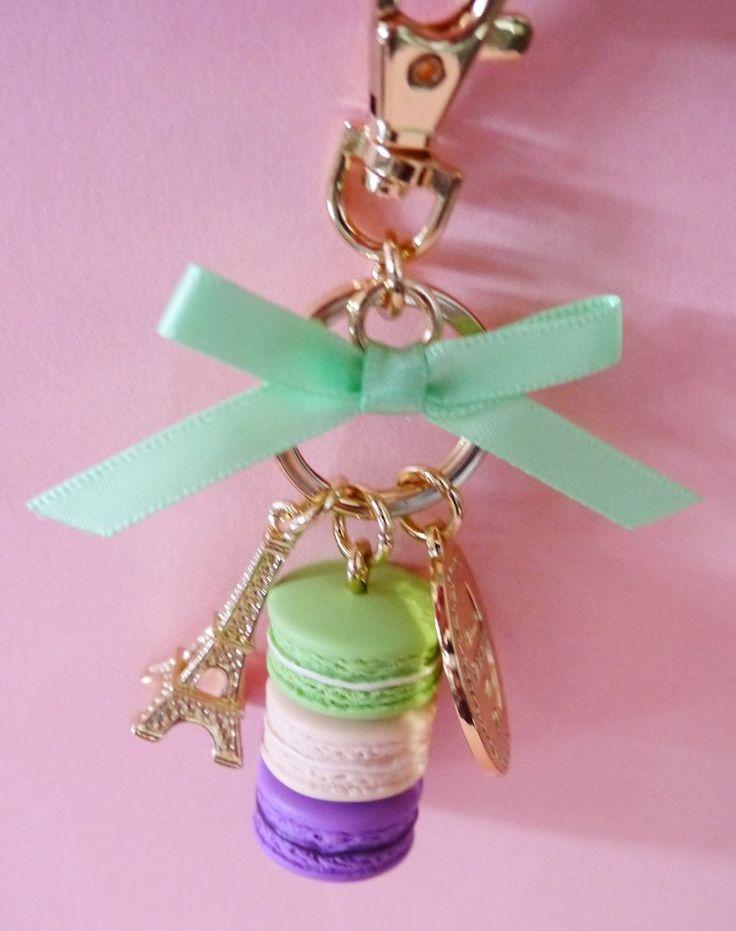 LADUREE Macaron bag charm chain Keyring Keychain Eiffel tower Green Box Japan #LADUREE