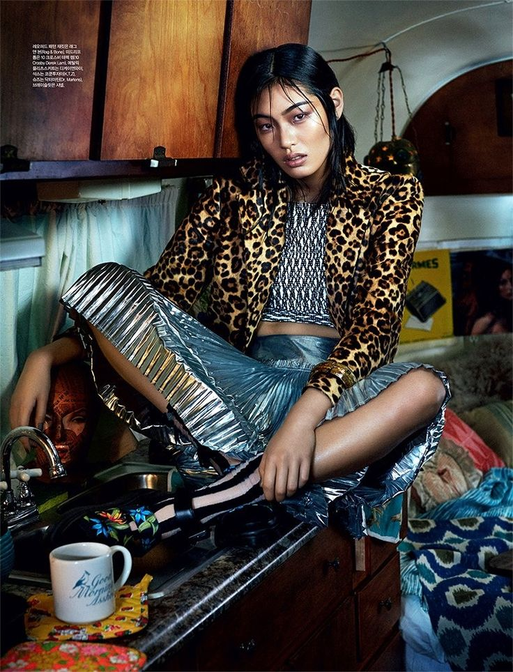 Chiharu Okunugi in animal prints and metallic // shot by Michael Schwartz for Dazed And Confused Korea