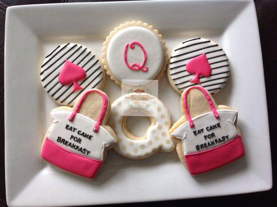 """2 dozen Kate Spade inspired cookies """" Eat cake for Breakfast"""""""