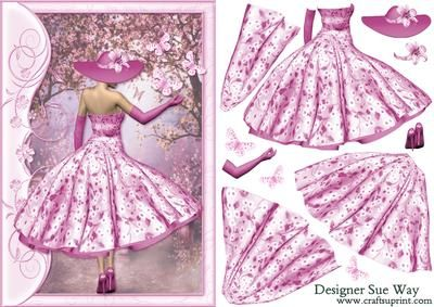 1950 s Lady in Pink Catching Butterflies Decoupage on Craftsuprint designed by Sue Way - A pretty lady in a 1950's style dress, with a flared skirt