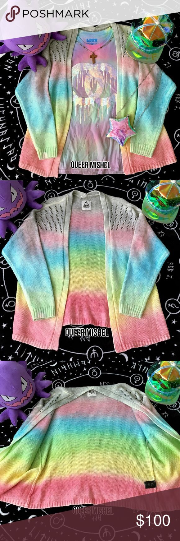 UNIF Cake Cardigan Sweater This ombre rainbow cardi is a pastel treasure & mine is vibrant compared to most I've seen. ✨ I had it sent to my parents & they didn't see the small factory dye defect on the sleeve, which the seller failed to mention. Still very beautiful & essential oldie UNIF collector's piece! I just never got around to wearing it. Very soft & lightly cozy. Perfect for crisp weather. Minor wear. Good Used Condition. I will be losing money & it's priced less than retail. {fairy…