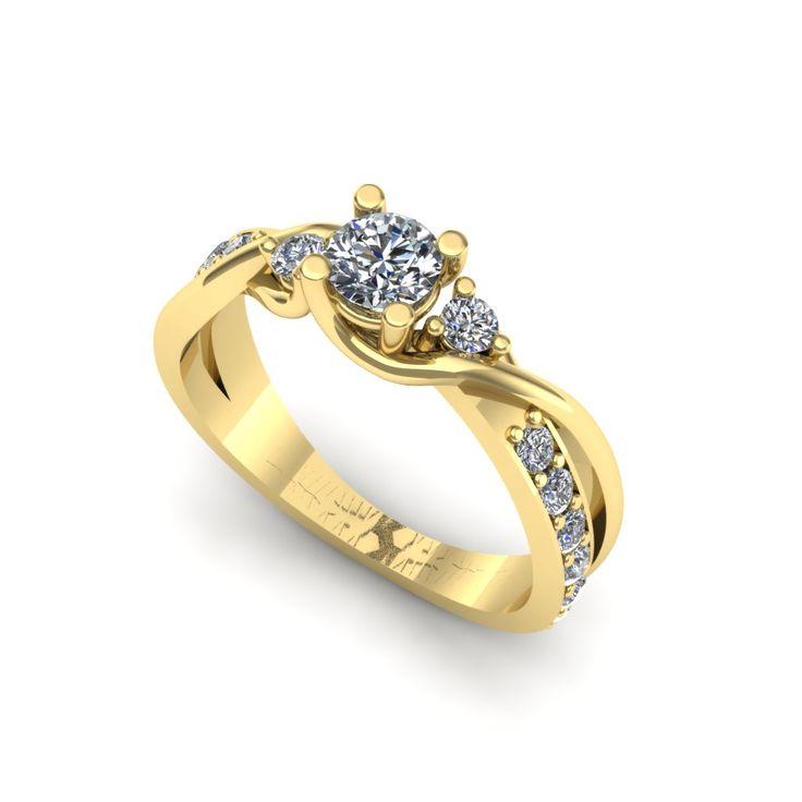Inelul este realizat din:  Piatra principala: diamant 1buc x ~4.30mm - greutate: ~0.30ct; * Pietre secundare: diamante 2buc x ~2.00mm - greutate totala: ~0.06ct * Pietre secundare: diamante 12buc x ~1.80mm - greutate totala: ~0.28ct