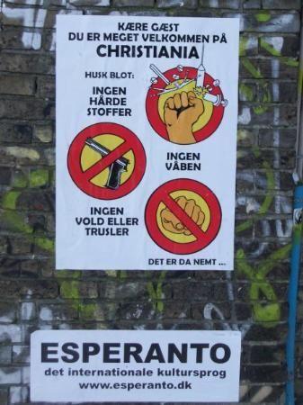 Sign illustrating the principles of Freetown Christiania - Copenhagen, Denmark