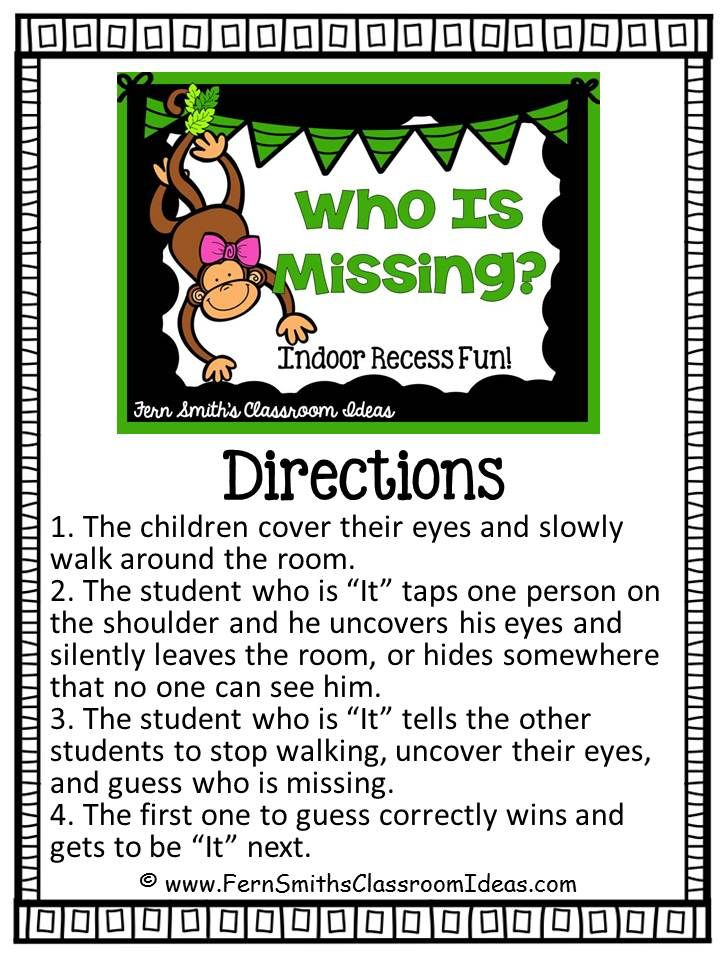 Indoor Recess ~ Who Is Missing Game #Free Printable Directions #FernSmithsClassroomIdeas