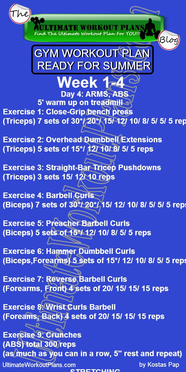 GYM WORKOUT PLAN READY FOR SUMMER MEN DAY 5 ARMS » UltimateWorkoutPlans.com