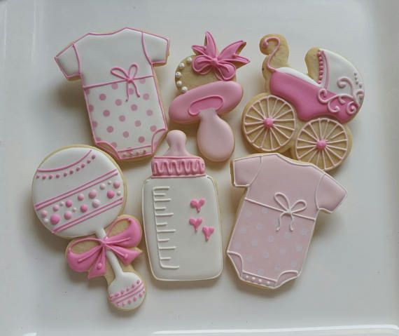 1 DOZEN Decorated Cookies - Baby Shower Little Girl Boy Stroller Onesies Party Favors Custom Rattle