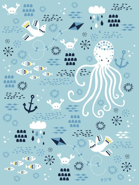 Sea Breeze Art Print by Poppy & Red
