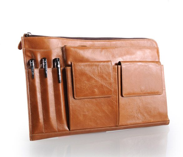 Stylish iPad leather case for iPad and macbook air in Light Brown leather