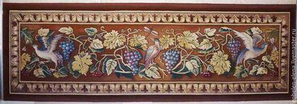 """Декоративное панно """"Птицы и виноград"""". 230х75 см."""