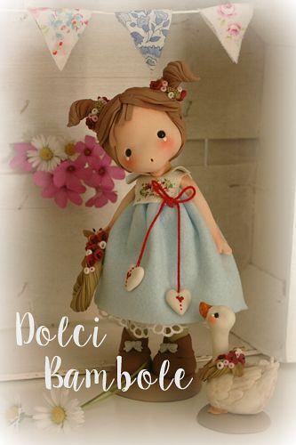 Papaveri e papere.Realizzato da Dolci Bambole in porcellana fredda .Su FB e blogspot.com