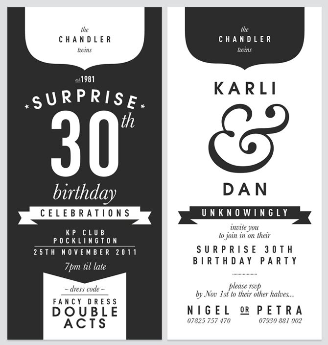 Print + typography + invitation  for me a good balance between black and white areas!