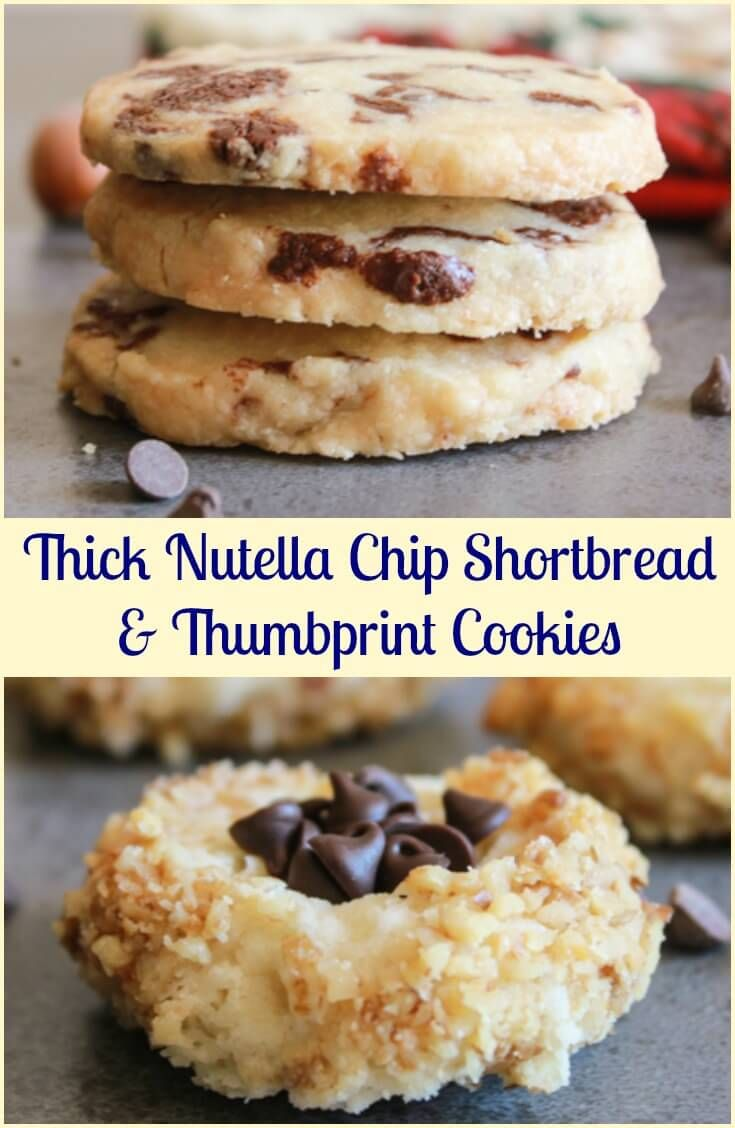 Thick Nutella Chip Shortbread Cookies, an easy, delicious, shortbread recipe. Filled with Homemade Nutella or chocolate chips, you choose! via @https://it.pinterest.com/Italianinkitchn/