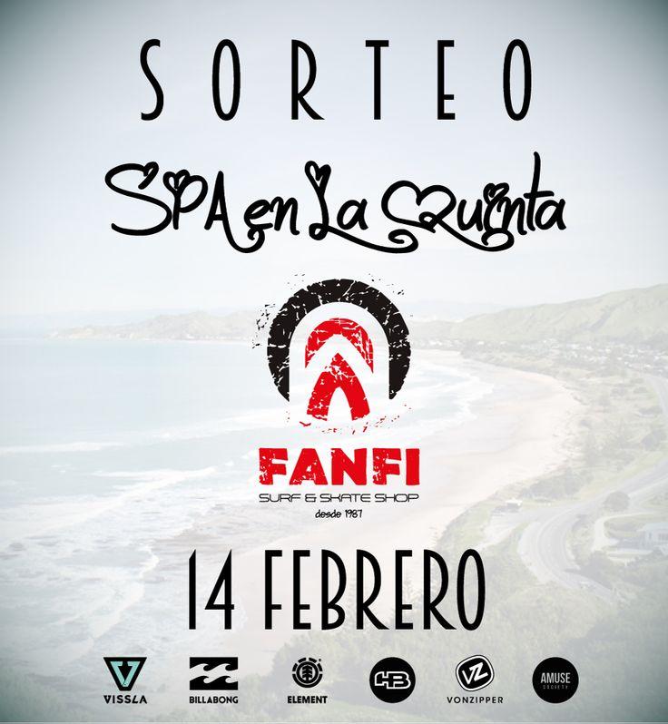 ¡Buenos días! Pásate esta semana por nuestra tienda y participa, por compras superiores a 25€, en el sorteo de una sesión para dos personas en el SPA de La Quinta Park. El sorteo se celebrará el 14 de febrero en combinación con las dos últimas cifras del sorteo de la ONCE y podrá ser canjeado hasta el 28 de febrero. ¡Ven y prueba suerte!❤️👫🎁 #fanfisurfandskateshop #sanvalentin #spa #sorteo #surf #skate #relax
