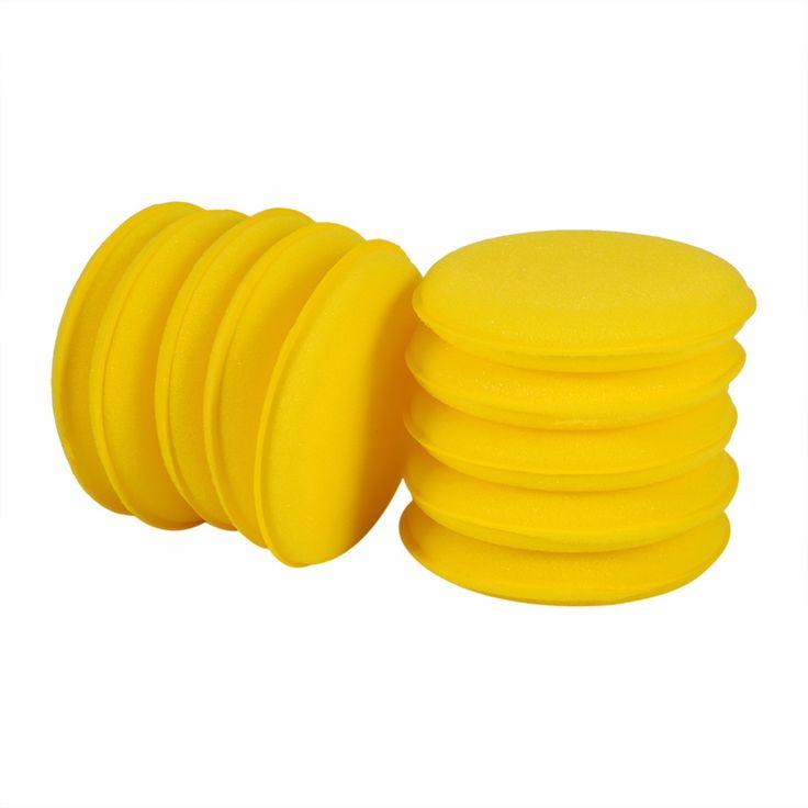 Yellow Auto Car Waxing Polish Soft Foam Sponge Wax Applicator Cleaning Detailing Pads 10 PCS/Set Anti-Scratch