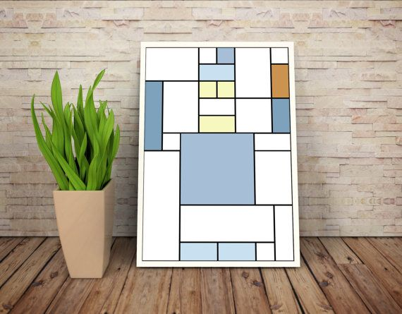 Bender J. Rodriguez De Stijl Minimalist Inspired Futurama Character Print // Color Blocks, Geometry, and Thin Line Grid Design