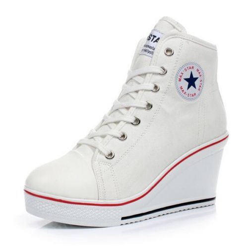 Women Canvas Shoes High Top Wedge Heel Lace Up Zip Casual Trainers Sneakers