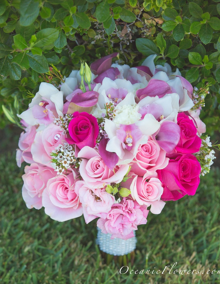 Fuchsia Pink, White, and Pink Bridal Bouquet