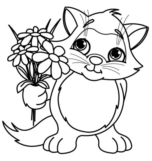 Cute Little Cat With Spring Flower Coloring Pages