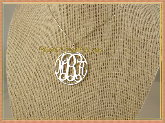 Personalized Round Circle Initial MONOGRAM .925 by JewelryTrinkets, $50.95