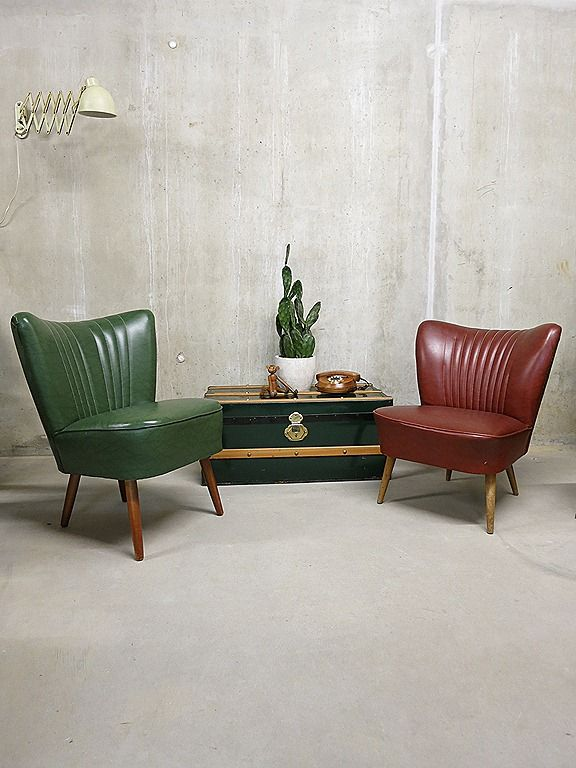cocktail chair groen rood club fauteuil jaren 50 vintage retro