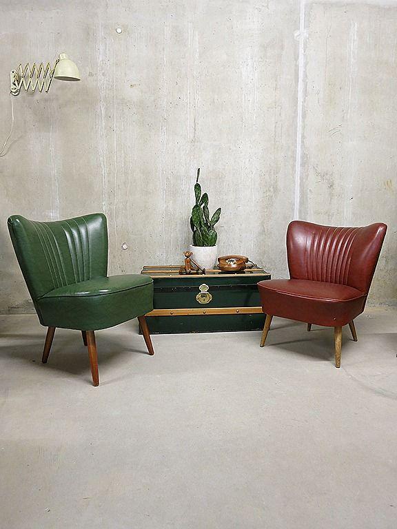 cocktail chair groen rood club fauteuil jaren 50 vintage retro