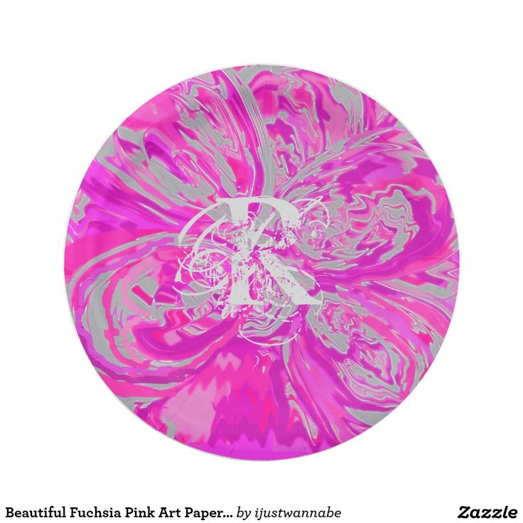 "Beautiful Monogram Fuchsia Pink Paper Plates 7"" Paper Plates 7 Inch Monogram Paper Plate PERSONALIZE with your OWN INITIAL, with quick automatic template changer, just type your Initial, it changes automatically for you. Gorgeous Designer Paper Plates that add a pop of color to your Special Occasions. Paper Plates Monogram Paper Plate PERSONALIZE with your OWN INITIAL, created by RjFxx, honored with 237 Art Awards. All rights reserved. Per plate $1.70"