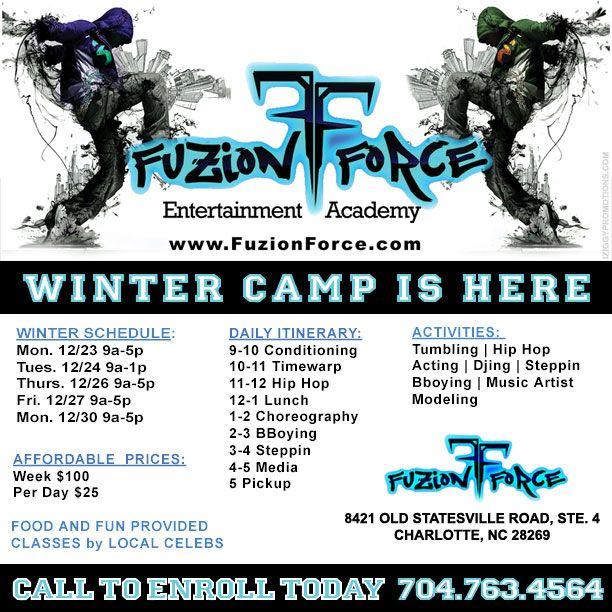 WINTER DANCE CAMP IS HERE! Visit www.FuzionForce.com