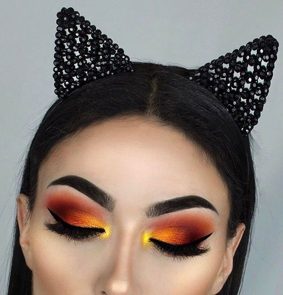 sunrise theme eye makeup red orange yellow winged liner long lashes