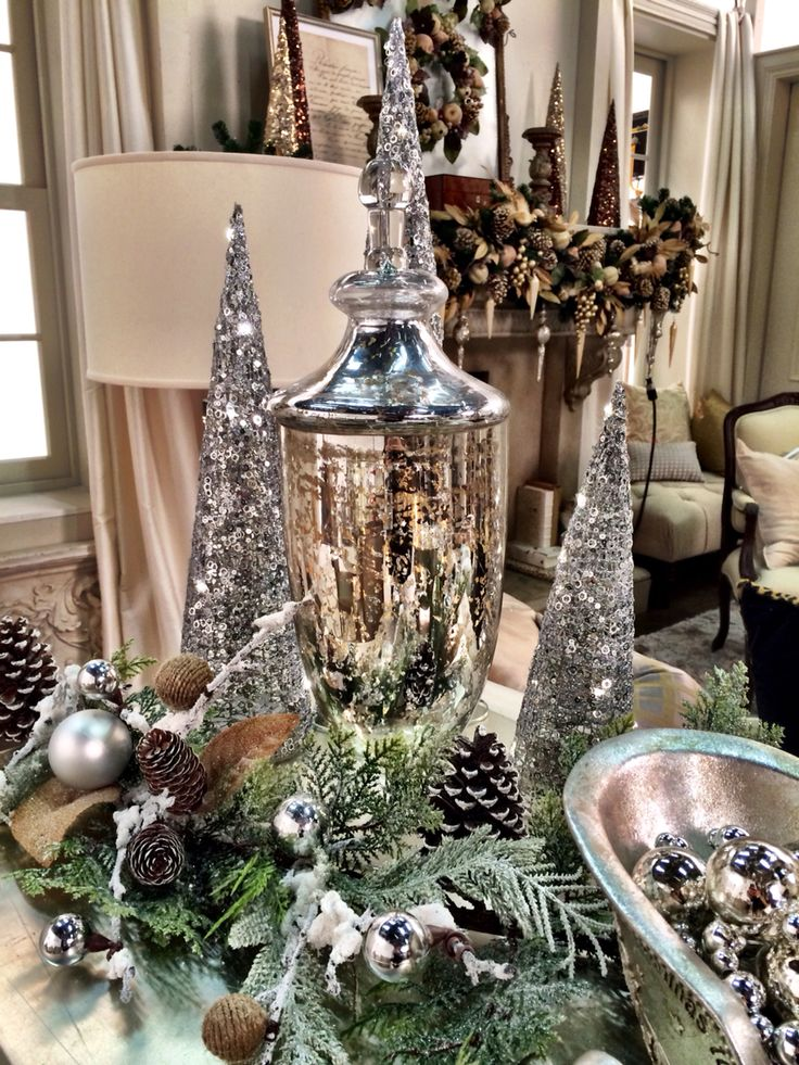 "A silvery vignette....from the stage set of QVC ""A Lisa Robertson Christmas"" 2014."