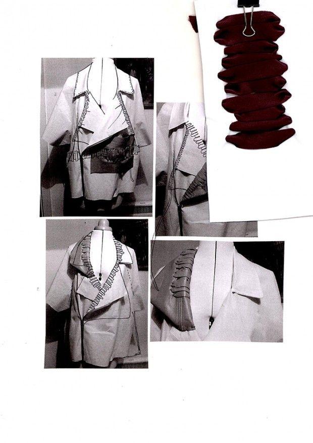 Fashion Sketchbook - fashion design development with stand work - modern tailoring; fashion portfolio // Sophie Bateson