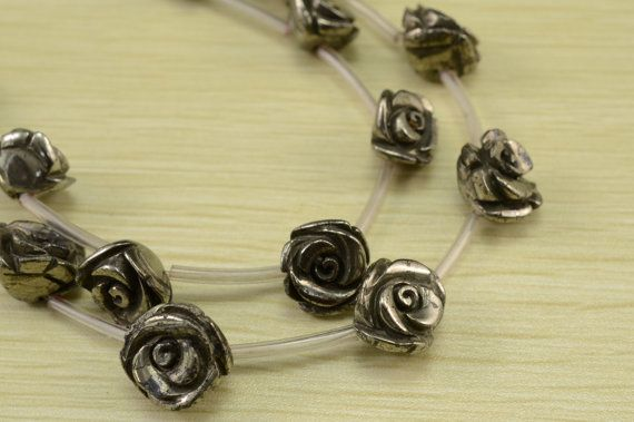 Natural golden Iron Pyrite carved flower beads by luckybeadssupply, $17.20
