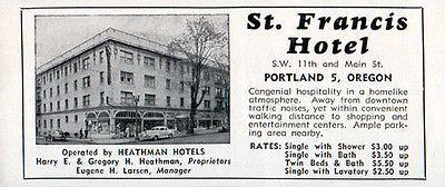 St Francis Hotel Portland Oregon Bath or Shower or Water 1956 Travel Tourism AD