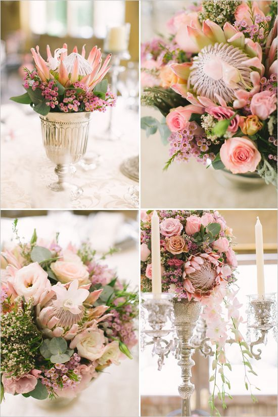pink protea wedding bouquets and floral arrangements
