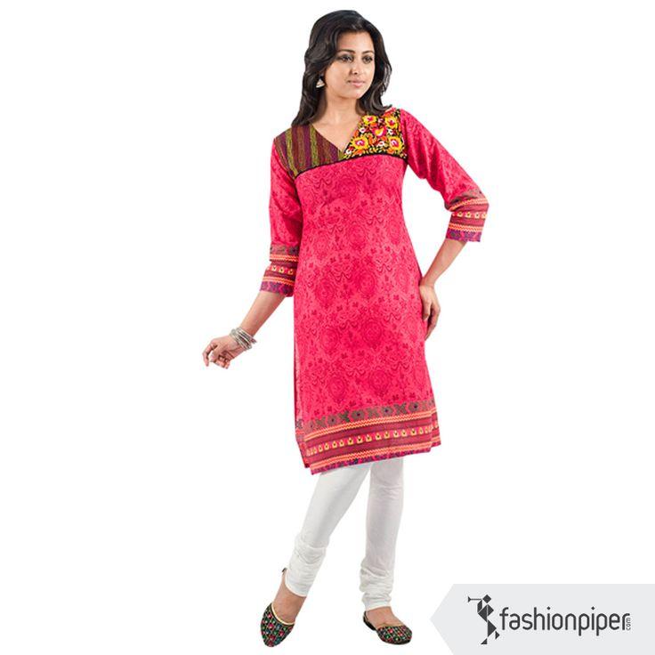 #Handembroidered #Indian #kurti in blush pink  Order now: http://www.fashionpiper.com/women/indian-wear/kurti/pink-is-the-new-black-kurta-1532.html