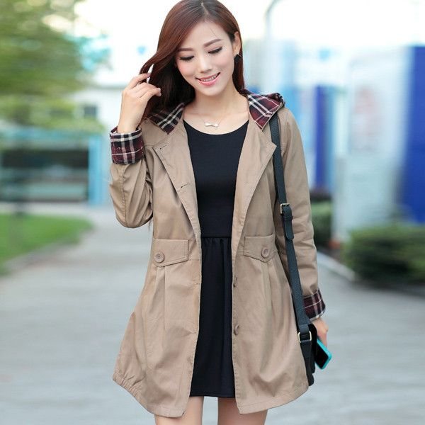 Autumn Winter Women Fashion Plaid Trench Plus Size M-3XL Pocket & Button Design Sweet Office Lady Long Hooded Outerwear