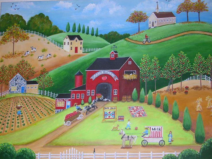 Apple Farm Folk Art Painting