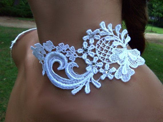 White/ Ivory Bridal Lace Silver Shoulder by MyOctoberCountry, $65.00