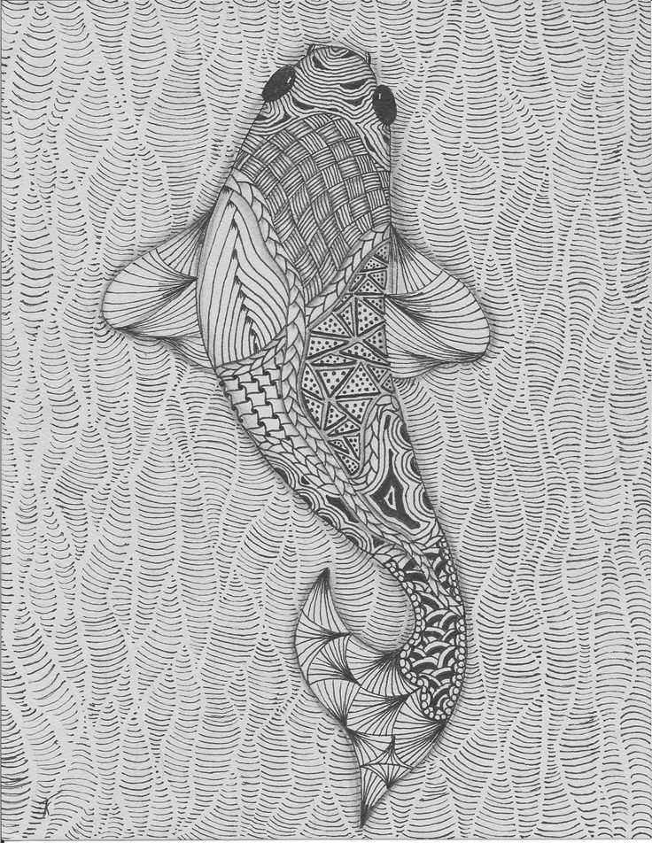 fish drawing. Notice the mark making.