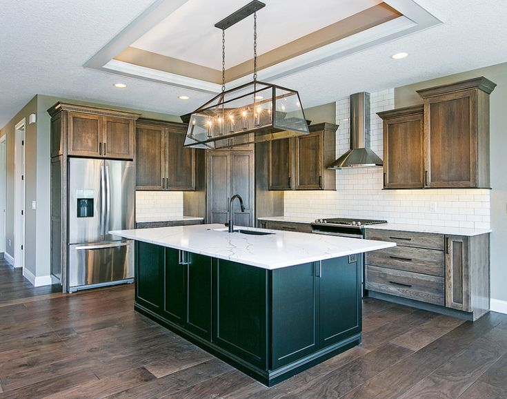 Tailored Rustic Transitional Hickory kitchen with gray ...