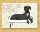 Great Dane Magnet - Couch Hog - Blue Merle Great Dane Dog Magnet. $5.99, via Etsy.