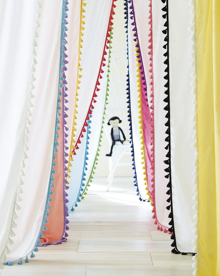 French Tassel Window Panels in bright hues. #serenaandlily