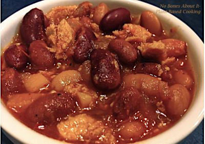 Healthy Plant Based Bean & Tofu Chili. Easy, hearty 3 bean chili with lots of spices.