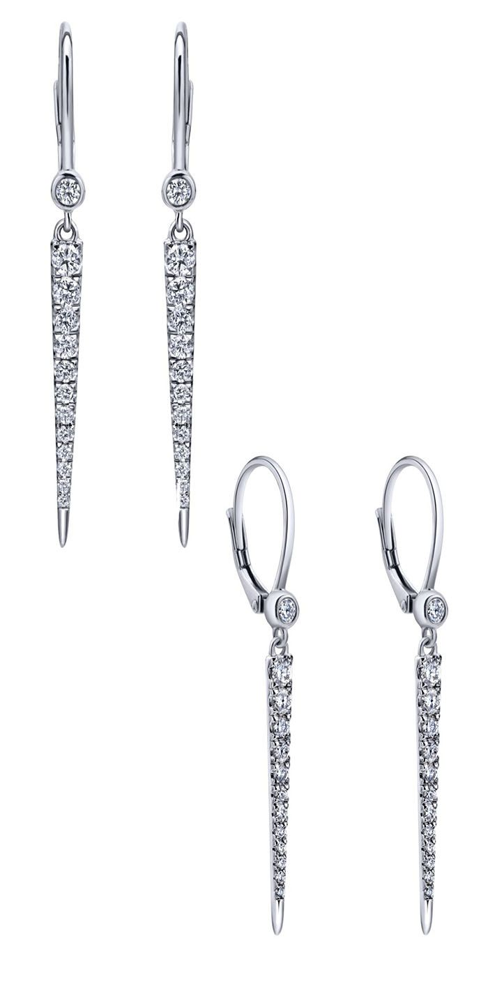 A Stunning Pair Of 14k White Gold Diamond Drop Earrings From Gabriel & Co  We