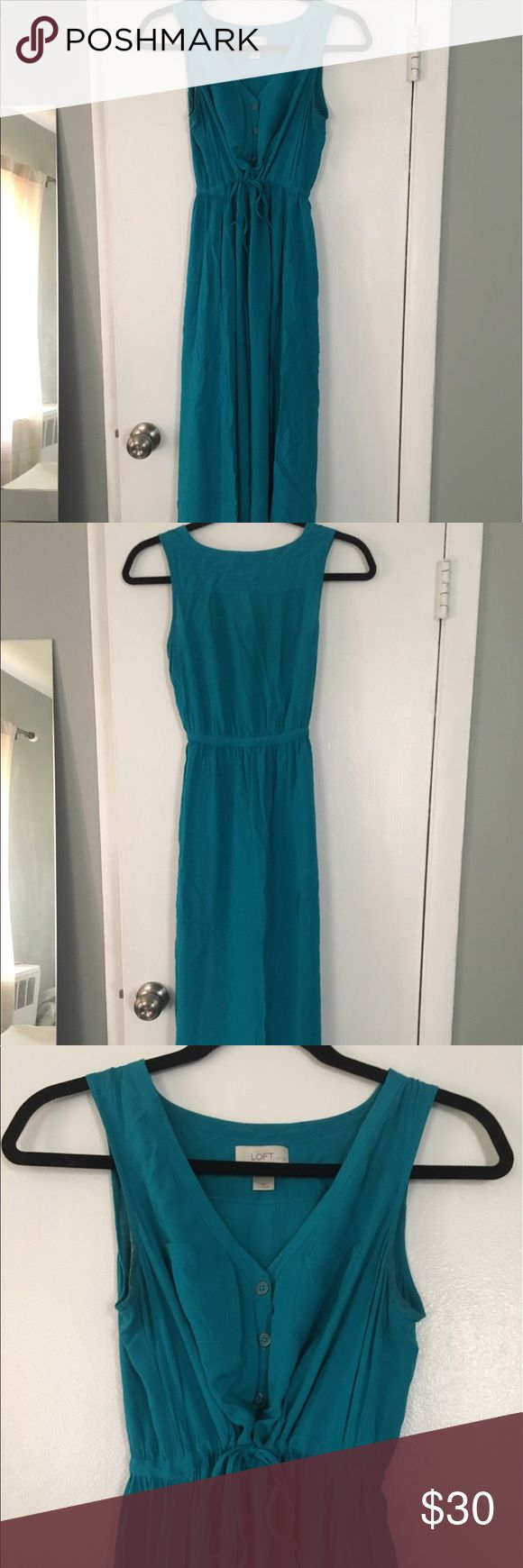 Teal Maxi Dress I may have worn this dress once. The dress is a pretty teal color and soft material - super comfortable. A few buttons down the front, with a tie waste. Has pockets! Since it's a 0P, it measures approximately 49 inches from shoulder. LOFT Dresses Maxi