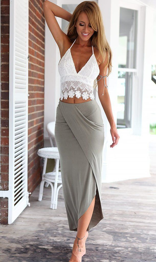 Floral Crochet Lace White Grey Halter Top Irregular Skirt Two Piece Maxi Dress